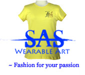 Link Image of a Yellow Stubbs Art Studio Wearable Art T-shirt embroidered with Colts Playing.