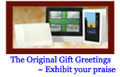 This image of The Original Gift Greetings Personalized fine art print and frame fine art card envelope and glass paneled frame.