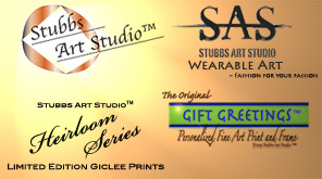This is an image of 3 logos representing the Stubbs Art Studio line of products including exhibition quality fine art prints, wearable art, and the origianl gift greetings.