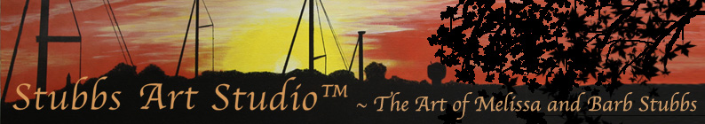 The Stubbs Art Studio Banner - created from an original acrylic on canvas of an early evening with orange sky over Cecil Couonty, MD