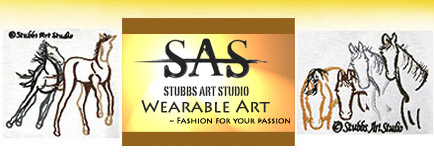 The SAS Wearable Art Logo and images of the 4 horses and colts playing embroidered images